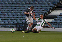 Eoghan O'Connell tackles Allan Smith in the Dunfermline Athletic v Celtic Scottish Football Association Youth Cup Final match played at Hampden Park, Glasgow on 1.5.13. .