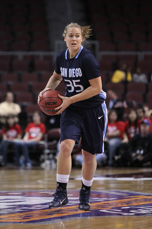 March 6, 2011; Las Vegas, NV, USA; San Diego Toreros forward Emily Hatch (35) passes the ball against the Saint Mary's Gaels during the WCC Basketball Championships semifinal game at Orleans Arena. The Gaels defeated the Toreros 71-68.