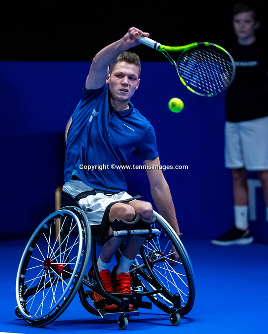 Alphen aan den Rijn, Netherlands, December 15, 2018, Tennispark Nieuwe Sloot, Ned. Loterij NK Tennis, Wheelchair men's semifinal:  Ruben Spaargaren (NED)<br /> Photo: Tennisimages/Henk Koster