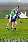 Lios Póil Cathal O'Sullivan and Annascaul Eoghan O'Neill in an action during the County League Div. 3 match at Lispole GAA grounds on sunday afternoon.