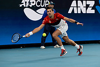 11th January 2020; Sydney Olympic Park Tennis Centre, Sydney, New South Wales, Australia; ATP Cup Australia, Sydney, Day 9; Serbia versus Russia;  Novak Djokovic versus Daniil Medvedev; Novak Djokovic of Serbia prepares to hits a forehand to Daniil Medvedev of Russia - Editorial Use