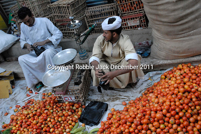 Tomatoes for sale in the Sharia Souk in Luxor.The town of Luxor occupies the eastern part of a great city of antiquity which the ancient Egytians called Waset and the Greeks named Thebes.