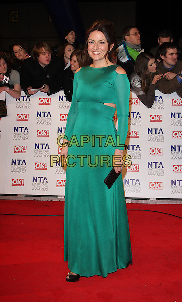 DAVINA McCALL.National Television Awards at the O2 Arena, London, England..January 26th 2011.NTA NTAs full length green cut out dress away shoulders side long sleeve maxi black peep toe shoes clutch bag .CAP/ROS.©Steve Ross/Capital Pictures
