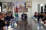 Palestinian President Mahmoud Abbas visits the Innovation and Excellence Foundation, in the West Bank city of Ramallah, April 9, 2019. Photo by Thaer Ganaim