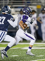 NWA Democrat-Gazette/BEN GOFF @NWABENGOFF<br /> Connor Flannigan, Fayetteville wide receiver, runs for a touchdown on a catch in the second quarter vs Springdale Har-Ber Friday, Nov. 2, 2018, during the game at Wildcat Stadium in Springdale.