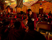 Buddhist monks serving tea during the Losar New Year chanting ceremony inside a monastery in the Himalayan foothills of Sikkim, India