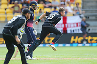 Blackcaps Tim Southee bowls during the third ODI cricket match between the Blackcaps & England at Westpac stadium, Wellington. 3rd March 2018. © Copyright Photo: Grant Down / www.photosport.nz