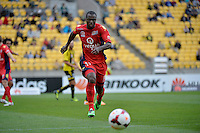 Bruce Djite during the A League - Wellington Phoenix v Adelaide United, Wellington, New Zealand on Sunday 30 March 2014. <br /> Photo by Masanori Udagawa. <br /> www.photowellington.photoshelter.com.