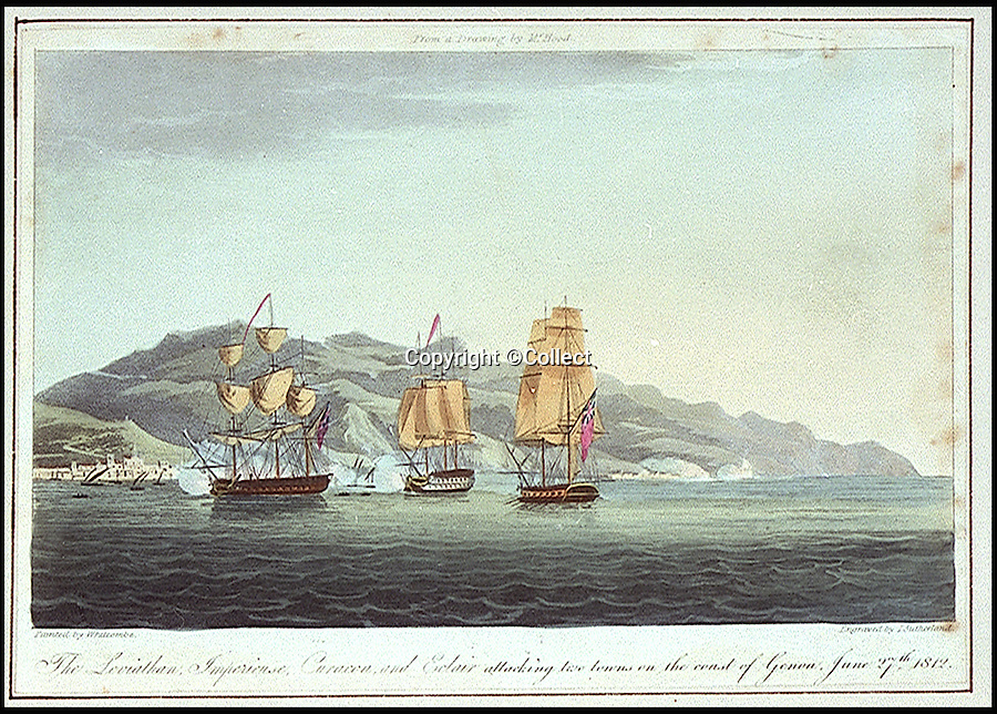 BNPS.co.uk (01202 558833)<br /> Pic: Collect/BNPS<br /> <br /> HMS Leviathan (left).<br /> <br /> A 'lost' Union Jack flown at the Battle of Trafalgar and said to be worth &pound;250,000 has been unearthed by a descendant of a sailor who won it as part of a bet.<br /> <br /> The giant flag, that is peppered with holes from musket balls and splinter fragments, is one of just three from the famous 1805 battle known to exist today.<br /> <br /> It has been kept folded up in a cupboard in the castle home of the family that has owned it for 170 years. It wil be sold next March at Holt's Auctioneers of Norfolk.