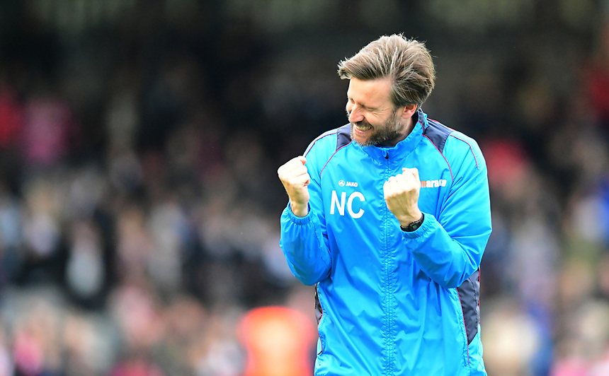 Lincoln City's assistant manager Nicky Cowley at the end of the game<br /> <br /> Photographer Chris Vaughan/CameraSport<br /> <br /> Vanarama National League - Lincoln City v Torquay United - Friday 14th April 2016  - Sincil Bank - Lincoln<br /> <br /> World Copyright &copy; 2017 CameraSport. All rights reserved. 43 Linden Ave. Countesthorpe. Leicester. England. LE8 5PG - Tel: +44 (0) 116 277 4147 - admin@camerasport.com - www.camerasport.com