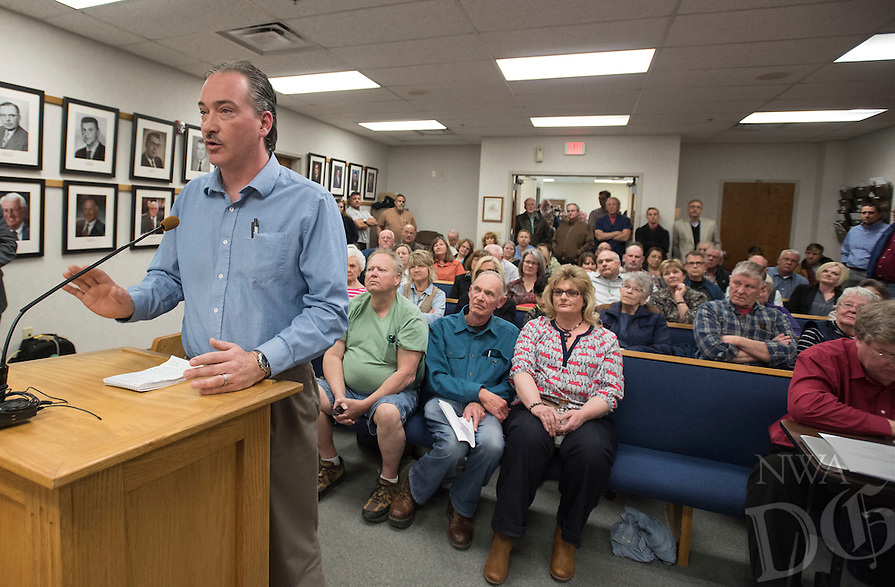 NWA Democrat-Gazette/J.T. WAMPLER Dave Edgar or Rogers speaks Wednesday Feb. 17, 2016 to the Benton County Planning Commission against a proposed boat and RV storage facility that would be built near his house. A standing room only crowd attended the meeting, with several people expressing opinions both for and against the project.