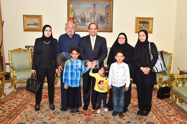 Egyptian President Abdel Fattah al-Sisi, meets with family of the martyr Ahmed Salah Eddin Malik, in Cairo, Egypt, on April 19, 2017. Photo by Egyptian President Office