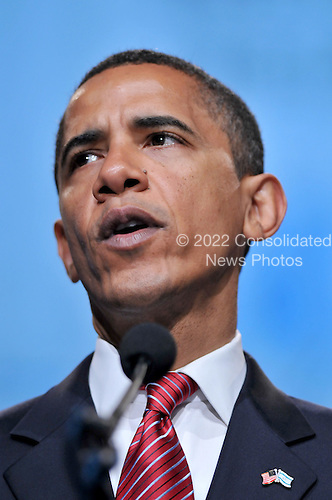Washington, D.C. - June 2, 2008 -- United States Senator Barak Obama (Democrat of Illinois), the presumptive 2008 Democratic nominee for President of the United States, speaks at the American Israel Public Affairs Committee (AIPAC) annual Policy Conference in Washington, D.C. on Monday, June 2, 2008.  In his remarks, Senator Barak spoke of his solid support for the State of Israel..Credit: Ron Sachs / CNP