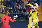 Karim Benzema (top) of Real Madrid competes for the ball with Víctor Ruiz Torre of Villarreal CF during their La Liga match between Villarreal CF and Real Madrid at the Estadio de la Cerámica on 26 February 2017 in Villarreal, Spain. Photo by Maria Jose Segovia Carmona / Power Sport Images