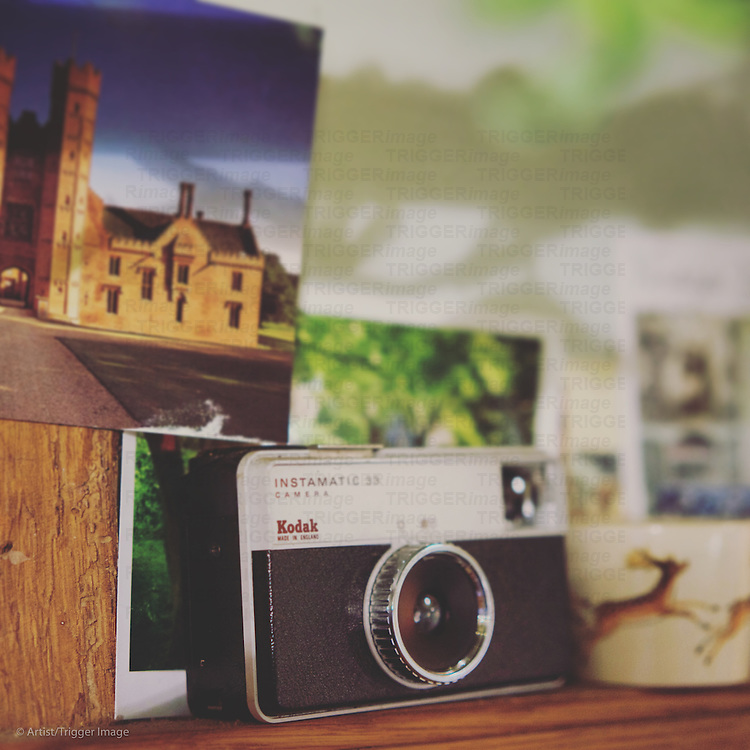 Old camera and postcards
