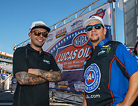 Sep 3, 2018; Clermont, IN, USA; NHRA funny car driver Jonnie Lindberg (left) with Robert Hight during the US Nationals at Lucas Oil Raceway. Mandatory Credit: Mark J. Rebilas-USA TODAY Sports