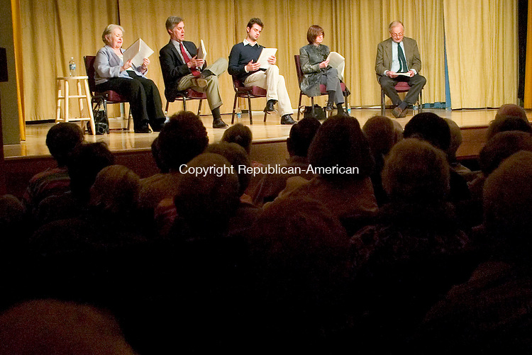 SOUTHBURY, CT- 26 APRIL 2008- 042608JT11- <br /> From left, Sada Thompson, Jack Gilpin, Mark Sullivan, Ann McDonough and A. R. &quot;Pete&quot; Gurney turn the pages of their script as they sit in front of an audience during a performance play reading of Gurney's play &quot;Ancestral Voices,&quot; presented by the Heritage Village Theater Guild in Southbury on Saturday. <br /> Josalee Thrift / Republican-American
