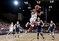 STANFORD CA-DECEMBER 30, 2010: Nnemkadi Ogwumike drives to the basket during the Stanford 71-59 victory over UCONN at Maples Pavilion.