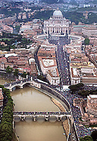 Pope Francis during the canonisation mass of Popes John XXIII and John Paul II on St Peter's at the Vatican, aerial view of the crowd in St Peter's square and Via della Conciliazione on April 27, 2014.