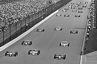 Bobby Rahal (#3, lower right) started the 1986 Indy 500 from the inside of the second row in the Budweiser-sponsored Truesports March 86C Cosworth.