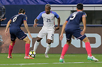 Arlington, TX - Saturday July 22, 2017: Darlington Nagbe and José Salvatierra during a 2017 Gold Cup Semifinal match between the men's national teams of the United States (USA) and Costa Rica (CRC) at AT&T stadium.