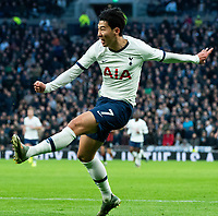 Tottenham Hotspur's Son Heung-Min takes a shot in match against Bournemouth<br /> <br /> Photographer Stephanie Meek/CameraSport<br /> <br /> The Premier League - Tottenham Hotspur v Bournemouth - Saturday 30th November 2019 - Tottenham Hotspur Stadium - London<br /> <br /> World Copyright © 2019 CameraSport. All rights reserved. 43 Linden Ave. Countesthorpe. Leicester. England. LE8 5PG - Tel: +44 (0) 116 277 4147 - admin@camerasport.com - www.camerasport.com