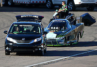 Feb 27, 2016; Chandler, AZ, USA; NHRA funny car driver Alexis DeJoria during qualifying for the Carquest Nationals at Wild Horse Pass Motorsports Park. Mandatory Credit: Mark J. Rebilas-