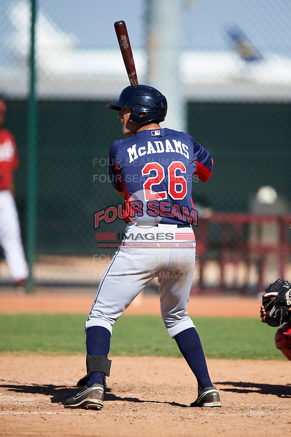Cleveland Indians minor league outfielder Josh McAdams #26 during an instructional league game against the Cincinnati Reds at the Goodyear Training Complex on October 8, 2012 in Goodyear, Arizona.  (Mike Janes/Four Seam Images)