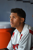 Carolina Mudcats shortstop Erik Gonzalez (10) in the dugout during a game against the Frederick Keys on April 26, 2014 at Harry Grove Stadium in Frederick, Maryland.  Carolina defeated Frederick 4-2.  (Mike Janes/Four Seam Images)