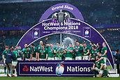 17th March 2018, Twickenham, London, England; NatWest Six Nations rugby, England versus Ireland; The Champagne starts to fly as Ireland celebrate winning the Grand Slam and Six Nations Champsionship