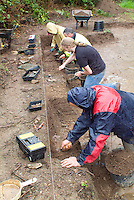 SAVEOCK WATER, CORNWALL, ENGLAND - AUGUST 03: A view from the side of archaeologists and students on August 3, 2008 in Saveock Water, Cornwall. Led by Jacqui Wood they are excavating a Mesolithic platform. (Photo by Manuel Cohen)