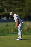 Hideki Matsuyama (JPN) on the 16th green during the 3rd round at the PGA Championship 2019, Beth Page Black, New York, USA. 19/05/2019.<br /> Picture Fran Caffrey / Golffile.ie<br /> <br /> All photo usage must carry mandatory copyright credit (© Golffile | Fran Caffrey)
