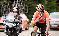 Michael Schär (SUI/CCC) emptying a final energy gel as the last survivor of the early breakaway group <br /> <br /> Stage 1: Clermont-Ferrand to Saint-Christo-en-Jarez (218km)<br /> 72st Critérium du Dauphiné 2020 (2.UWT)<br /> <br /> ©kramon