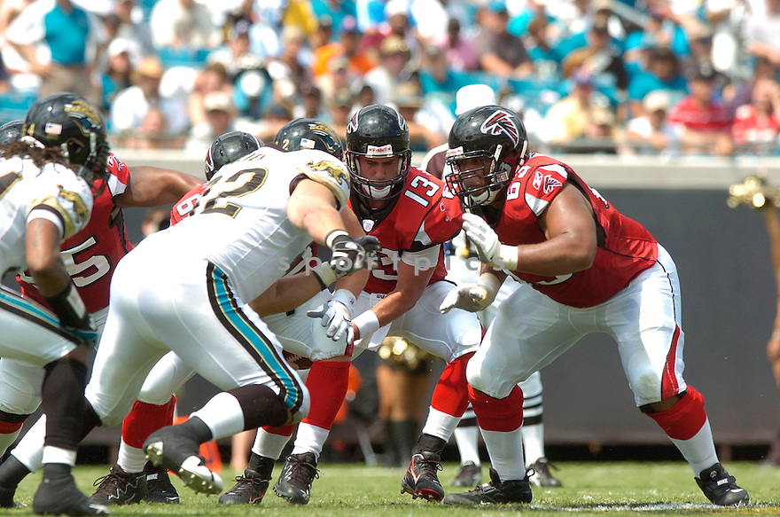 JUSTIN BLALOCK, of the Atlanta Falcons, in action during the Falcons game against the Jacksonville Jaguars in Jacksonville, FL on September 16, 2007.  The Jaguars won the game 13-7............
