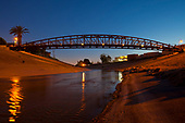 Footbridge over Baliona Creek at sunset, Culver City, Los Angeles, california, USA