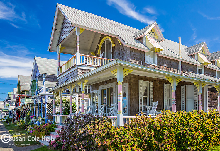 Victorian cottages at he Martha's Vineyard Camp Meeting Association in Oak Bluffs, Marthas Vineyard, MA, USA