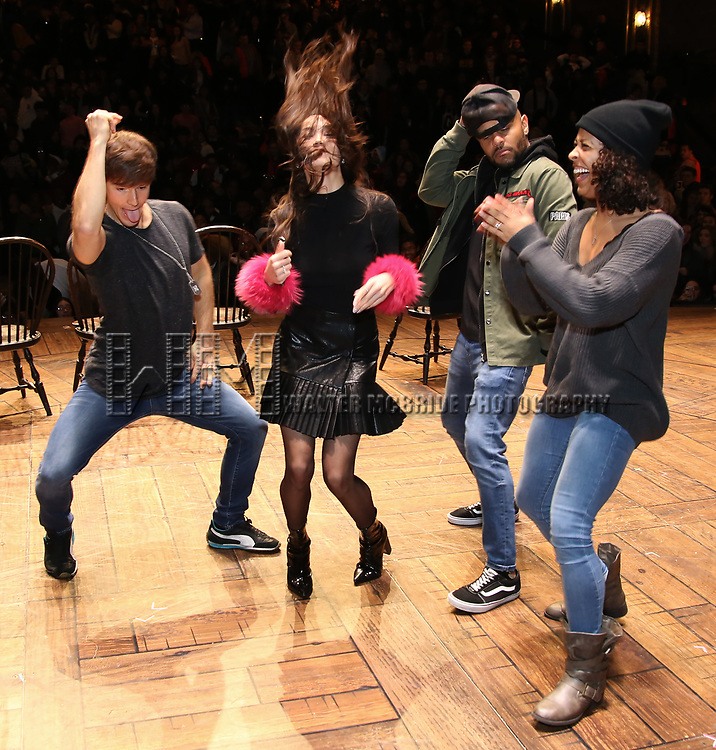 """Thayne Jasperson, Sabrina Imamura, Terrance Spencer and Sasha Hollinger during The Rockefeller Foundation and The Gilder Lehrman Institute of American History sponsored High School student #eduHam matinee performance of """"Hamilton"""" Q & A at the Richard Rodgers Theatre on December 5,, 2018 in New York City."""