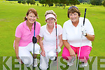 Colette Burghoff, Eleanor McCarthy and Marian Healy who competed in the Presidents prize in Killorglin Golf Club on Saturday