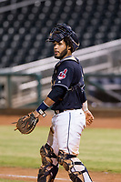 AZL Indians catcher Felix Fernandez (9) on defense against the AZL Padres on August 30, 2017 at Goodyear Ball Park in Goodyear, Arizona. AZL Padres defeated the AZL Indians 7-6. (Zachary Lucy/Four Seam Images)