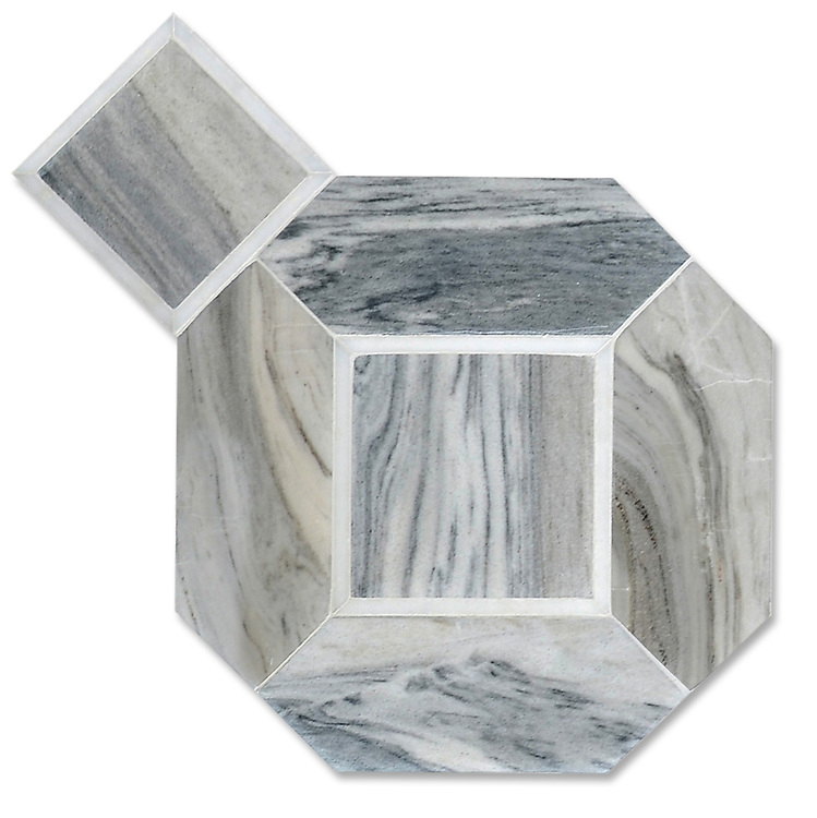 Almeria, a stone hand-cut mosaic, shown in Venetian honed Horizon Dark and polished Afyon White, is part of The Studio Line of Ready to Ship mosaics. Designed by Paul Schatz for New Ravenna.<br />
