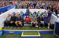 Pictured: The Swansea bench Saturday 27 August 2016<br />Re: Swansea City FC v Leicester City FC Premier League game at the King Power Stadium, Leicester, England, UK