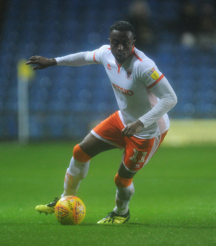Blackpool's Joe Dodoo<br /> <br /> Photographer Kevin Barnes/CameraSport<br /> <br /> The EFL Sky Bet League One - Oxford United v Blackpool - Saturday 15th December 2018 - Kassam Stadium - Oxford<br /> <br /> World Copyright © 2018 CameraSport. All rights reserved. 43 Linden Ave. Countesthorpe. Leicester. England. LE8 5PG - Tel: +44 (0) 116 277 4147 - admin@camerasport.com - www.camerasport.com