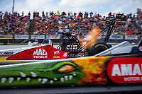 May 19, 2018; Topeka, KS, USA; NHRA top fuel driver Doug Kalitta during qualifying for the Heartland Nationals at Heartland Motorsports Park. Mandatory Credit: Mark J. Rebilas-USA TODAY Sports