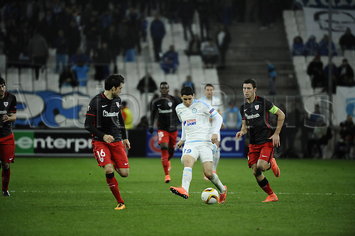 18.02.2016. Marseille, France. UEFA Europa league football. Marseille versus Athletic Bilbao.  Barrada (OM) passes the ball inside of Xabier Etxeita