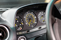 The instrument panel of the Mercedes W123 series 230TE estate version, outside the Penderyn Whisky Distillery in south Wales, UK. Tuesday 19 June 2018