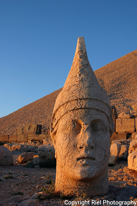 Apollo stands in tribute to King Antiochus at the remote temple compound on Mt. Nemrut Dagi in Central Turkey. (Some see a young Elvis . . .)<br />