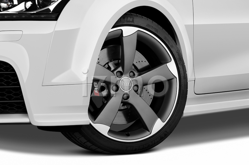 Tire and wheel close up detail view of a 2010 - 2014 Audi TT RS Convertible.