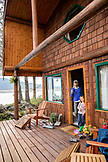 USA, Alaska, Homer, China Poot Bay, Kachemak Bay, a view of one of the cabins at the Kachemak Bay Wilderness Lodge