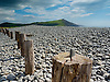 A view to the South of Aberystwyth along the Ceredigion coastline. Large posts driven into the stone and pebble beach.<br />
