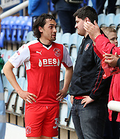 Fleetwood Town's Markus Schwabl speaks with a fan after the final whistle<br /> <br /> Photographer David Shipman/CameraSport<br /> <br /> The EFL Sky Bet League One - Peterborough United v Fleetwood Town - Friday 14th April 2016 - ABAX Stadium  - Peterborough<br /> <br /> World Copyright &copy; 2017 CameraSport. All rights reserved. 43 Linden Ave. Countesthorpe. Leicester. England. LE8 5PG - Tel: +44 (0) 116 277 4147 - admin@camerasport.com - www.camerasport.com